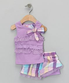 Take a look at this Pastel Purple Tank & Skirt - Infant, Toddler & Girls by Young Hearts on #zulily today!