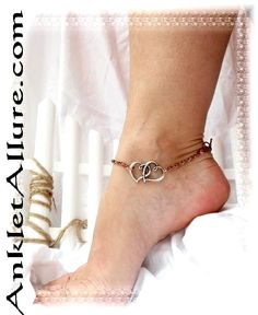 Double The Love Heart Charm Anklet Fusion Copper Chain Silver Ankle Bracelet
