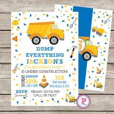 Construction Birthday Party Invitation Dump Truck Dump