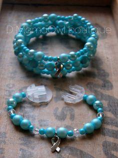 EN VENTE Bracelet Diabète Bleu Pâle style wrap fil mémoire DUO  '' Doux Nuages''