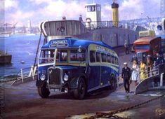 Royal Blue Bristol at Torpoint Ferry. Road Transport, Public Transport, Vintage Illustration Art, Illustrations, Vintage Trucks, Old Trucks, Bristol, Bus Art, Old Lorries