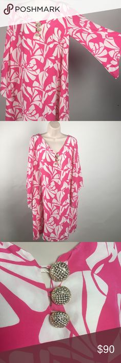 """🌺 Lilly Pulitzer 🌺 Silk Pink White Dress Size 10 🌺Lilly Pulitzer darling floral flowing silk dress! Sooo cute! Size 10. The buttons 😍! Big heavy 1"""" gold buttons with crystals! Gorgeous! Lined (excluding sleeves) Sleeves are tapered just the right way only Lilly does it! Tropical beachy summer fun!  Measures approximately 35"""" shoulder to hem, 20"""" bust, 26"""" width at hem Lilly Pulitzer Dresses Midi"""