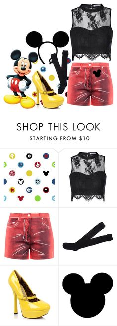 """""""Mickey Mouse"""" by ramirez-coimbra ❤ liked on Polyvore featuring York Wallcoverings, Glamorous, Moschino and Ethan Allen"""