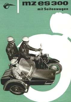 1963 MZ ES 300 motorcycle with sidecar Moto Scooter, Side Car, Classic Bikes, Illustrations And Posters, Sport, Motorbikes, Motorcycle, Retro, Advertising