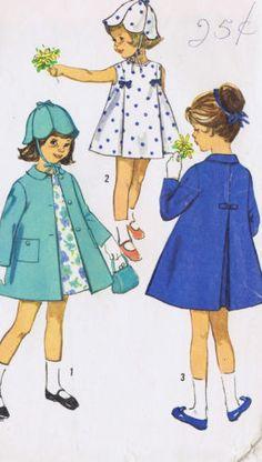 Vintage Girls Dress Coat 60s Sewing Pattern Simplicity 5337 Sz 1 Breast 20 Uncut | eBay