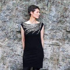 Womens Black T Shirt Dress - Southwest Metallic Silver Feather Print - Wear Day and Night - For Her on Etsy, $34.00