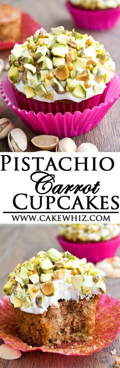 These tender and spiced PISTACHIO CARROT CUPCAKES with cream cheese icing have all the flavors of a classic carrot cake but in cupcake form. Easy to make and great as a dessert or snack! From cakewhiz.com