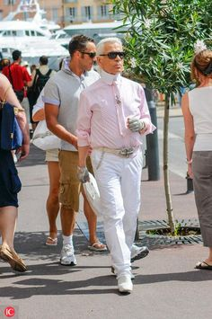 Karl Lagerfeld died at the age of 85 - Here in Saint Tropez on 18 August 2008 Karl Lagerfeld, Saint Tropez, White Jeans