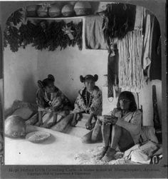 American Indian Pictures; Hopi Indian Women Grinding Corn