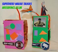 superhero walkie talkie - add number stickers instead of shapes Early Years Topics, Superhero Classroom, Superhero Preschool, Traction Man, Super Hero Day, People Who Help Us, Wonder Pets, Role Play Areas, Holiday Club