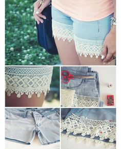 30 Cool DIY Projects for Teenage Girls 2019 DIY Boho Lace Shorts from Old Trousers. The post 30 Cool DIY Projects for Teenage Girls 2019 appeared first on Lace Diy. T-shirt Refashion, Diy Clothes Refashion, Diy Clothing, Summer Clothing, Clothing Storage, Short Outfits, Outfits For Teens, Casual Outfits, Summer Outfits