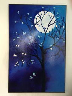 Herinneringsboom met vingerafdrukken van de gasten op het feest. Geïnspireerd door foto's op Pinterest. Gemaakt door Anja Winkel.