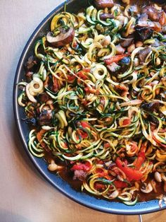 Zucchini Pasta | Recipe:  8 green zucchini  2 onions and  3 garlic  1 eggplant  1 red bell pepper  5 cups of assorted mushrooms  1/2-3/4 cup tomato sauce (no sugar added)