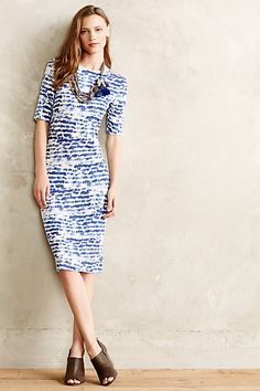 Hadre Dress | midi pencil dress with scoop back | blue indigo painted strokes pattern | anthropologie.com