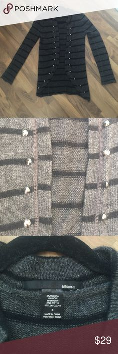 Angora wool striped cardigan Super cute fall/winter striped cardigan goes with pretty much anything. Leggings, skirts, dress, jeans! Shiny dimensional metal buttons adds a lil holiday flavor to your outfit. Worn once, perfect condition. Ellison Sweaters Cardigans