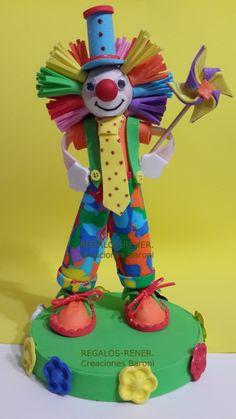 Clown: cake decoration Adorno de torta Payaso en goma eva