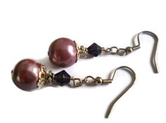 Dark Lavender Pearl and Silver Beaded Earrings by chicagolandia, $15.00