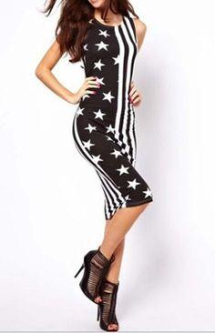 Stylish Round Collar Sleeveless Stars Stripes Splicing Slimming Women's Dress - BLACK L
