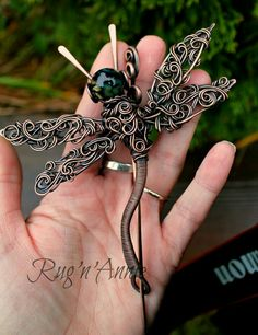 Solid copper dragonfly made with copper wire and my own hand made lampwork bead as it's head. Wear in your hat, your cape, scarf or on a warm fuzzy sweater. Dragonfly Jewelry, Copper Jewelry, Wire Jewelry, Beaded Jewelry, Handmade Jewelry, Copper Wire, Jewellery, Wire Crafts, Jewelry Crafts