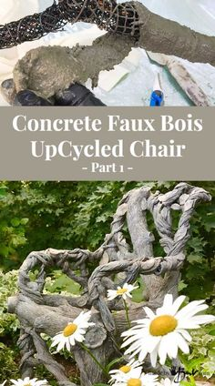 Not the usual method to make Concrete Faux Bois. Create a one of a kind piece using an existing frame to mkae this Concrete Faux Bois UpCycled Chair Concrete Forms, Concrete Cement, Concrete Furniture, Concrete Crafts, Cement Art, Concrete Projects, Concrete Jungle, Polished Concrete, Plaster Sculpture