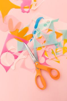 The iconic Fiskars Orange-Handled Scissors turn 50 and we are celebrating by creating colorful wall art using the classic scissors to cut colored vellum. Paper Collage Art, Wall Collage, Colorful Wall Art, Wall Colors, Art Education, Fabric Design, Create, Hearts, Projects