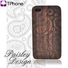 Exclusive TPhone Apple Verizon/ AT iPhone 4, iPhone 4S 100% Hard Wood Back Cover Case - Sonokeling Black Wood (Paisley Design)