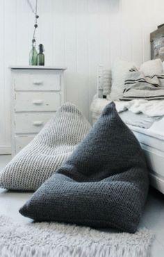 Chunky Merino Wolle grau Strick Sitzsack Kinder von GieMarGa#Kinderzimmer# Christoph Baum Stil Fabrik