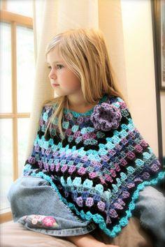 Girl's Poncho/ Handmade Poncho/ Girl's Cape by SKaneDesigns