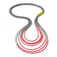 Bead Bound Necklace | Fusion Beads Inspiration Gallery...like this idea with silver and coral..finish with leather backing?