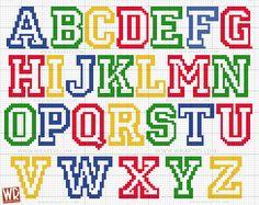 Gráfico alfabeto infantil para ponto cruz All Star