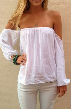 strapless off shoulder white blouse--so cozy for summer nights