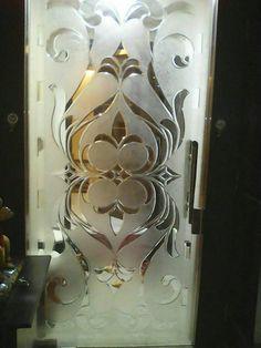 Etched Glass Door, Stained Glass Door, Sliding Glass Door, Glass Partition Designs, Glass Design, Pooja Door Design, Wooden Main Door Design, Home Stairs Design, Entryway Mirror