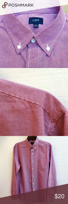 """J Crew Men's Long Sleeve Dress Shirt Burgundy / white long sleeve button down shirt. Sleeve inseam 20 1/2"""" including cuff. Chest measures approx 22"""" across underarm seams. Length of back of shirt 31"""" not including collar. J. Crew Shirts Dress Shirts"""