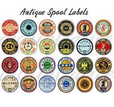 VINTAGE THREAD SPOOL Labels  Printable Craft by DigitalAlice