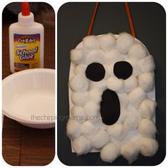 simple and fun ghost craft for kids the chirping moms: Halloween Projects for the Kids Halloween Crafts For Kids, Halloween Activities, Halloween Art, Holiday Crafts, Halloween Themes, Holidays Halloween, Halloween Decorations, Preschool Halloween, Kids Holidays