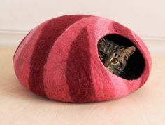 L size cat bed/cat cave/cat house/felted cat cave With von elevele, $67.00