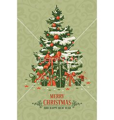 Christmas greeting card vector by Pazhyna on VectorStock®
