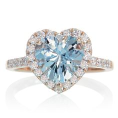 Rose Gold Heart Shape Cut Aquamarine Diamond Solitaire by SAMnSUE, $1280.00