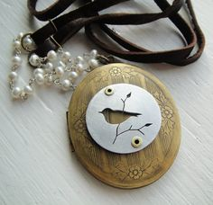 Bird Vintage Brass Large Oval  Locket Necklace  on by janeeroberti, $90.00