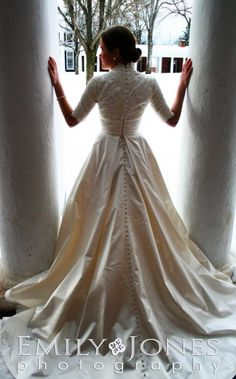 Modest wedding gown - Silk satin ball gown from Monique Lhuillier