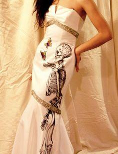 HandDrawn Skeleton Dress By StudioElevenVintage