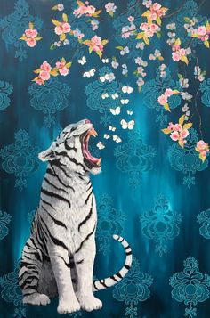 """Night Breezes Seem to Whisper I Love You"" Acrylic on Canvas inches Heather Gauthier Illustrations, Illustration Art, Tiger Art, Aesthetic Art, Japanese Art, Cat Art, Cute Wallpapers, Art Inspo, Concept Art"