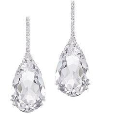 "Plukka """"Moon Drop"""" White Quartz Diamond Teardrop Earrings ($1,100) ❤ liked on Polyvore featuring jewelry, earrings, tear drop earrings, butterfly jewelry, wishbone earrings, holiday jewelry and butterfly earrings"