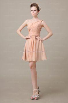 Chiffon One Shoulder A Line Short Bridesmaid Dress