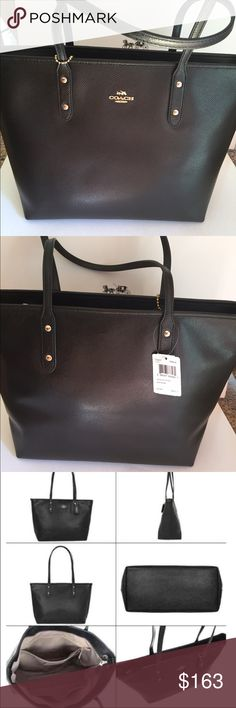 Coach Black City Zip Tote PRICE FIRM Coach Crossgrain Leather City Zip Tote Coach Bags Totes