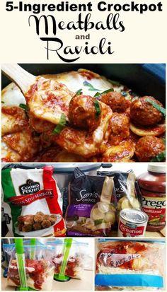 Slow Cooker Meatballs & Ravioli