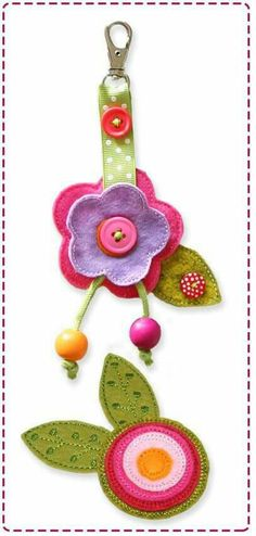 Good reuse for leftover ribbon, scraps and odd buttons. Can apply this idea to felt treat keychains Felt Crafts, Fabric Crafts, Sewing Crafts, Diy And Crafts, Sewing Projects, Arts And Crafts, Felt Flowers, Fabric Flowers, Felt Keyring