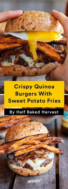 Crispy Quinoa Burgers With Sweet Potato Fries are the ultimate burger comfort food. The sweet potato fries are a healthy swap. Burger Recipes, Vegetarian Recipes, Cooking Recipes, Healthy Recipes, Vegetarian Options, Vegan Vegetarian, Healthy Comfort Food, Healthy Eating, Comfort Foods