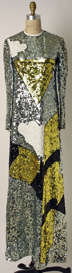 "Sequined pop art ""yield sign"" evening dress, by Geoffrey Beene, American, ca. 1967."