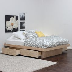 Gothic Cabinet Craft - Full Platform Bed With 4 Drawers On Tracks In Oak, $519.00  For spare bedroom